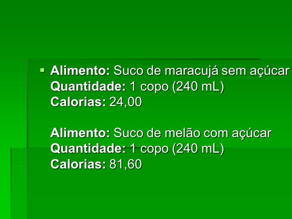 Alimento: Suco de maracujá sem açúcar Quantidade: 1 copo (240 mL) Calorias: 24,00 Alimento: Suco de melão com açúcar Quantidade: 1 copo (240 mL) Calorias: 81,60