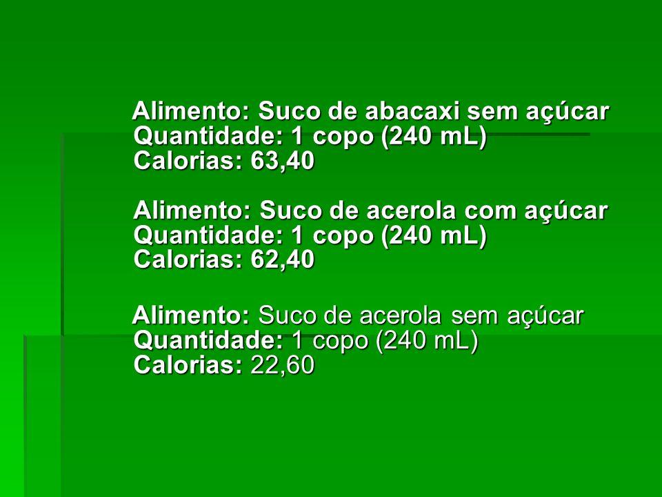 Alimento: Suco de abacaxi sem açúcar Quantidade: 1 copo (240 mL) Calorias: 63,40 Alimento: Suco de acerola com açúcar Quantidade: 1 copo (240 mL) Calorias: 62,40
