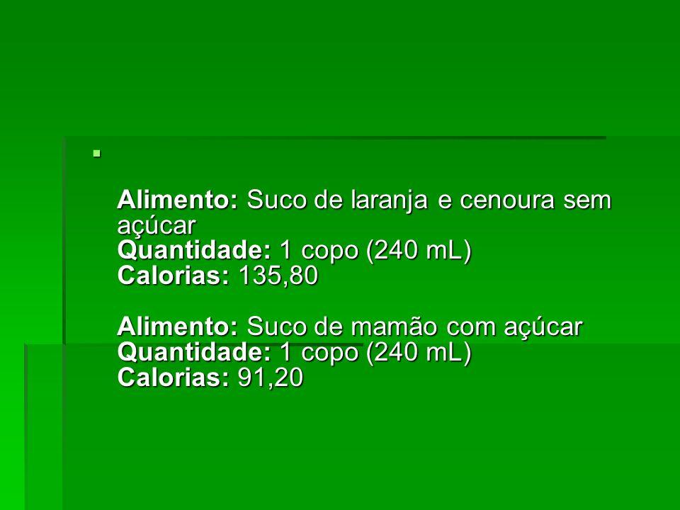 Alimento: Suco de laranja e cenoura sem açúcar Quantidade: 1 copo (240 mL) Calorias: 135,80 Alimento: Suco de mamão com açúcar Quantidade: 1 copo (240 mL) Calorias: 91,20