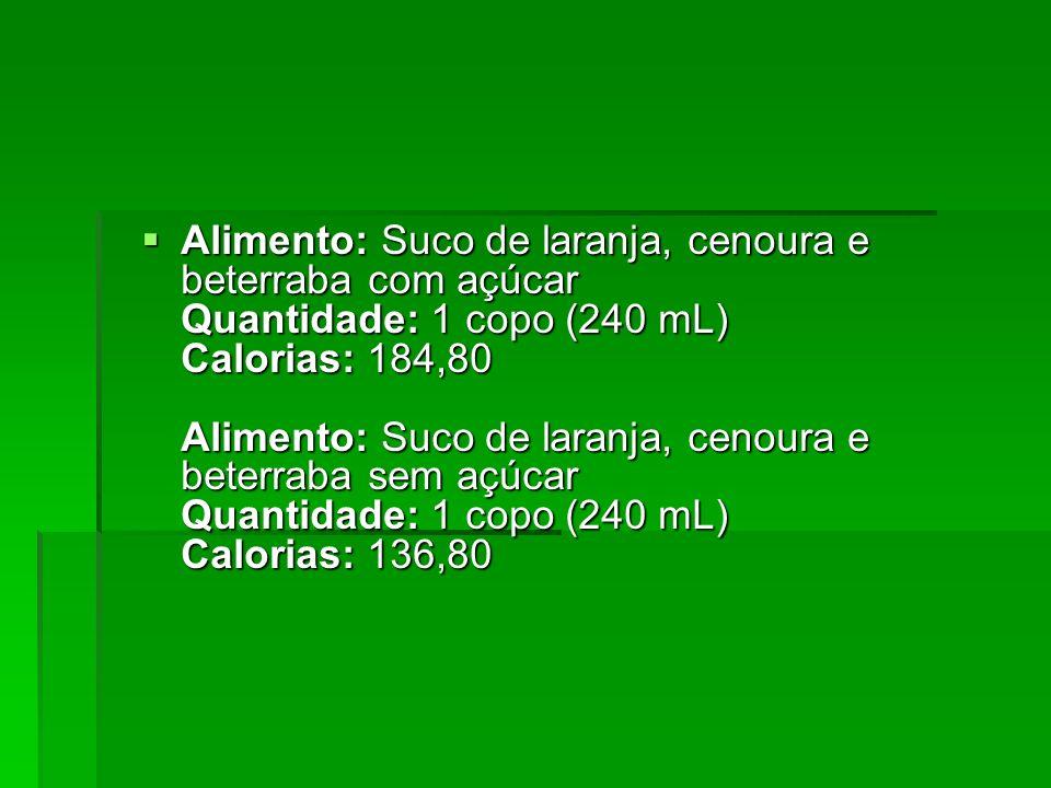 Alimento: Suco de laranja, cenoura e beterraba com açúcar Quantidade: 1 copo (240 mL) Calorias: 184,80 Alimento: Suco de laranja, cenoura e beterraba sem açúcar Quantidade: 1 copo (240 mL) Calorias: 136,80