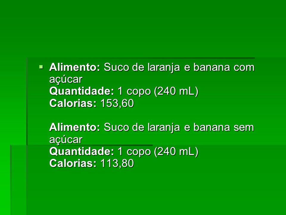 Alimento: Suco de laranja e banana com açúcar Quantidade: 1 copo (240 mL) Calorias: 153,60 Alimento: Suco de laranja e banana sem açúcar Quantidade: 1 copo (240 mL) Calorias: 113,80