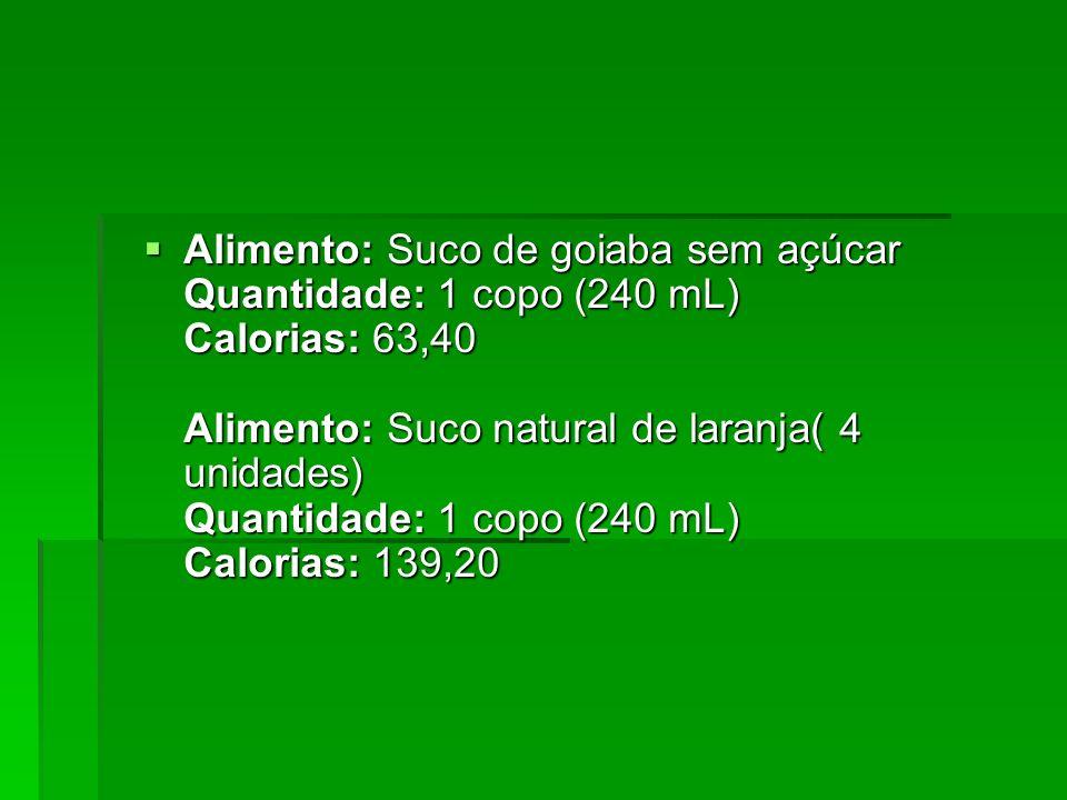 Alimento: Suco de goiaba sem açúcar Quantidade: 1 copo (240 mL) Calorias: 63,40 Alimento: Suco natural de laranja( 4 unidades) Quantidade: 1 copo (240 mL) Calorias: 139,20