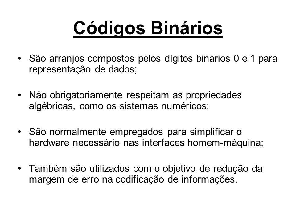 Códigos Binários São arranjos compostos pelos dígitos binários 0 e 1 para representação de dados;