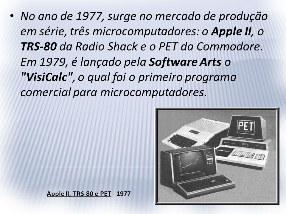 No ano de 1977, surge no mercado de produção em série, três microcomputadores: o Apple II, o TRS-80 da Radio Shack e o PET da Commodore. Em 1979, é lançado pela Software Arts o VisiCalc , o qual foi o primeiro programa comercial para microcomputadores.