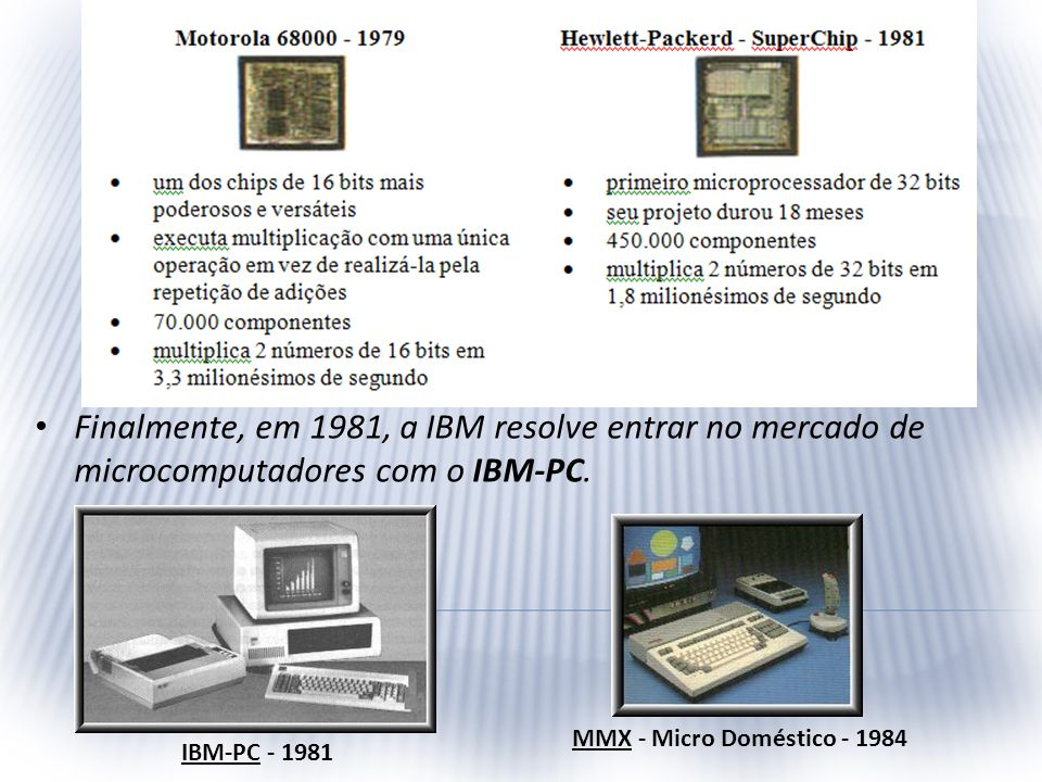 Finalmente, em 1981, a IBM resolve entrar no mercado de microcomputadores com o IBM-PC.
