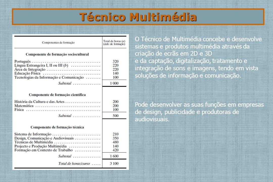 Técnico Multimédia O Técnico de Multimédia concebe e desenvolve sistemas e produtos multimédia através da criação de ecrãs em 2D e 3D.
