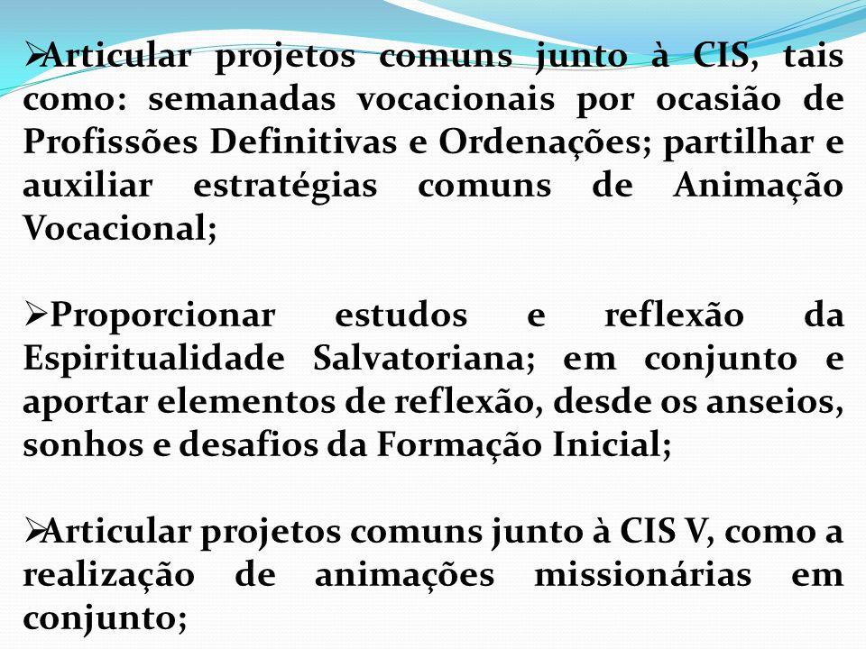 Articular projetos comuns junto à CIS, tais como: semanadas vocacionais por ocasião de Profissões Definitivas e Ordenações; partilhar e auxiliar estratégias comuns de Animação Vocacional;