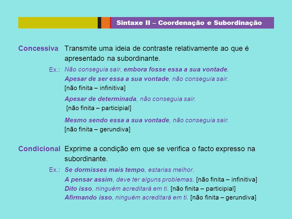 Sintaxe II – Coordenação e Subordinação
