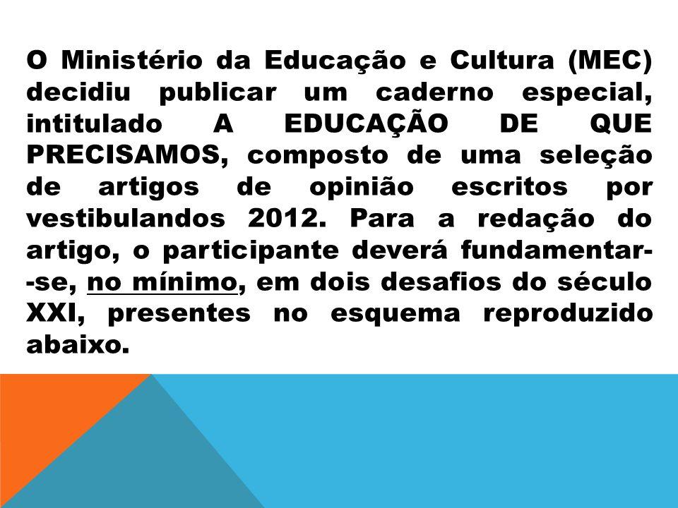 O Ministério da Educação e Cultura (MEC) decidiu publicar um caderno especial, intitulado A EDUCAÇÃO DE QUE PRECISAMOS, composto de uma seleção de artigos de opinião escritos por vestibulandos 2012.