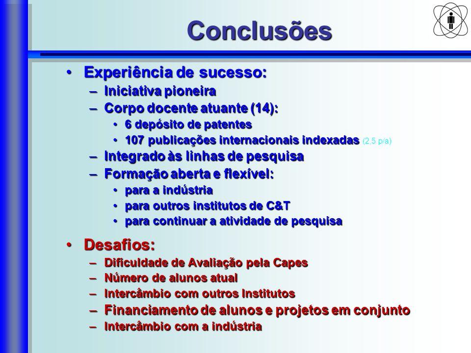 Conclusões Experiência de sucesso: Desafios: Iniciativa pioneira