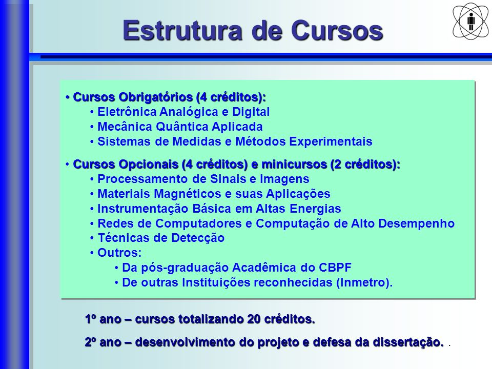 Estrutura de Cursos Cursos Obrigatórios (4 créditos):