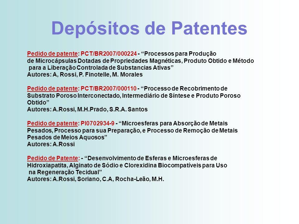 Depósitos de Patentes Pedido de patente: PCT/BR2007/000224 - Processos para Produção.