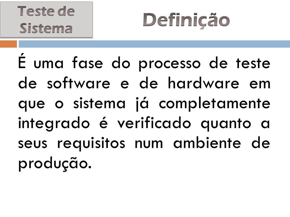 Teste de Sistema Definição.