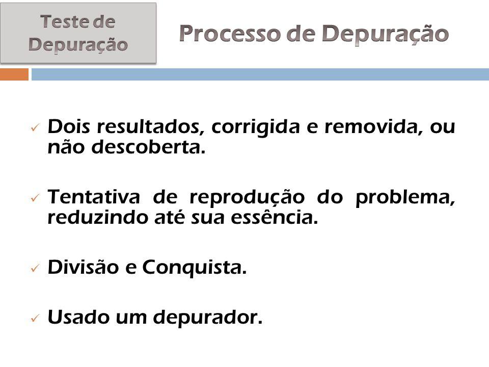 Teste de Depuração Processo de Depuração. Dois resultados, corrigida e removida, ou não descoberta.