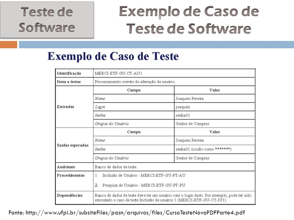 Exemplo de Caso de Teste de Software