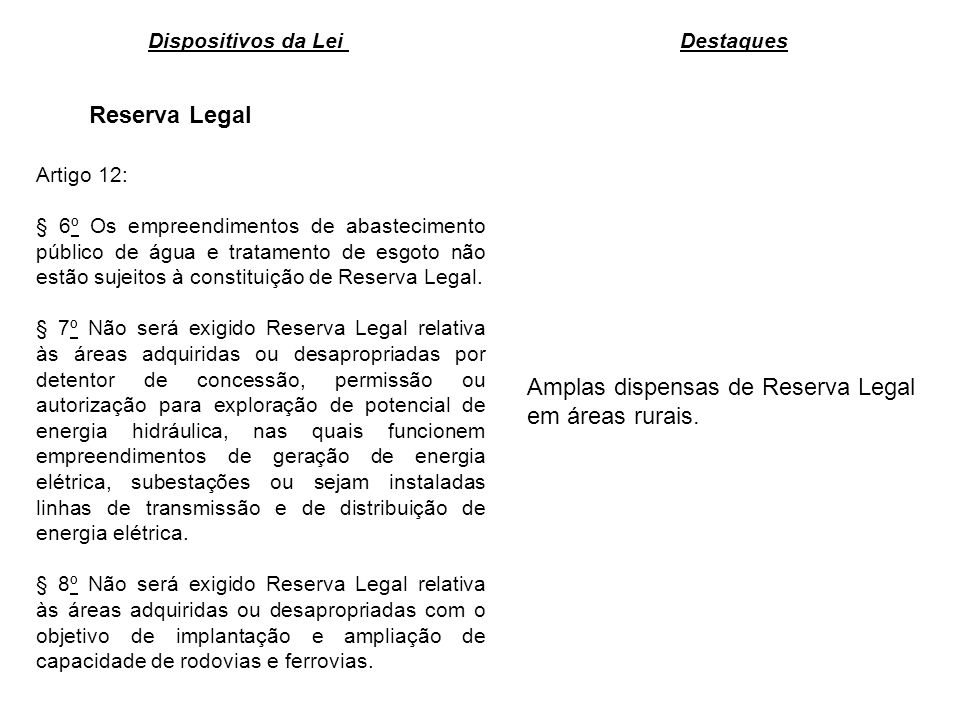 Amplas dispensas de Reserva Legal em áreas rurais.