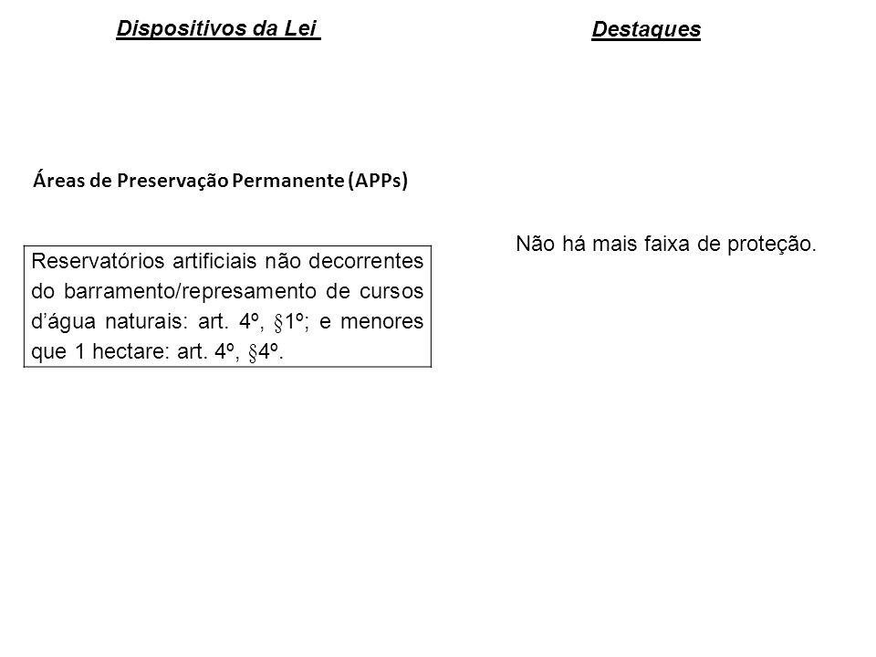 Dispositivos da Lei Destaques. Áreas de Preservação Permanente (APPs) Não há mais faixa de proteção.