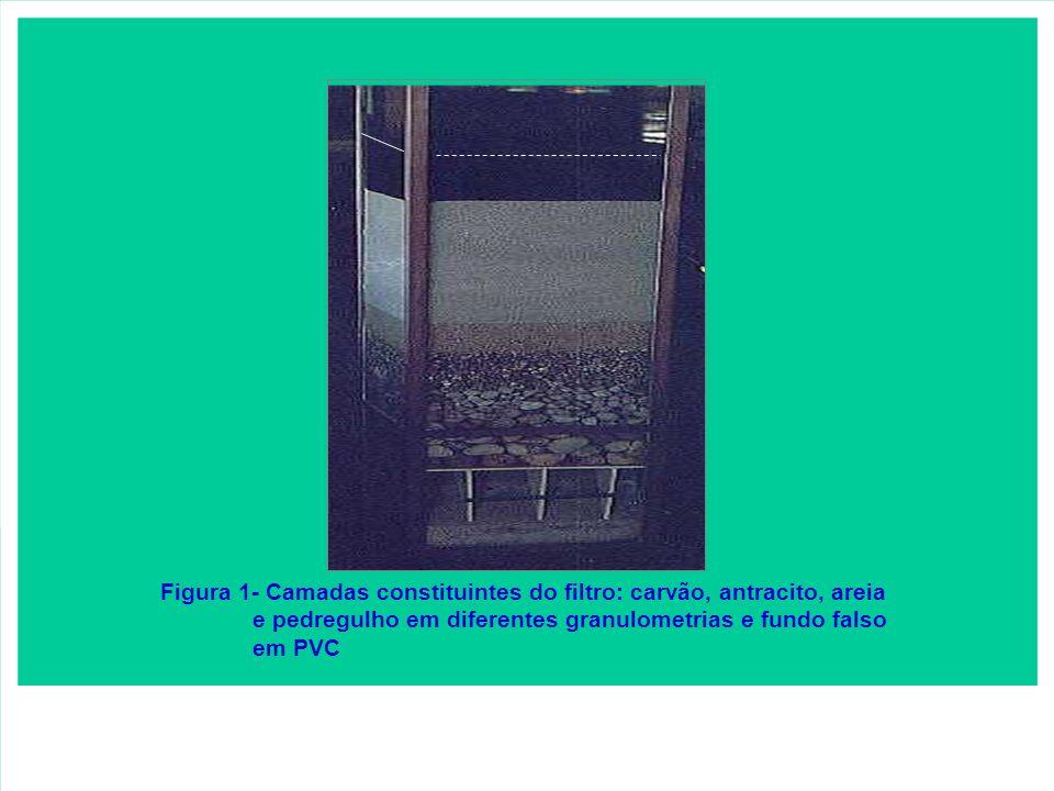 Figura 1- Camadas constituintes do filtro: carvão, antracito, areia
