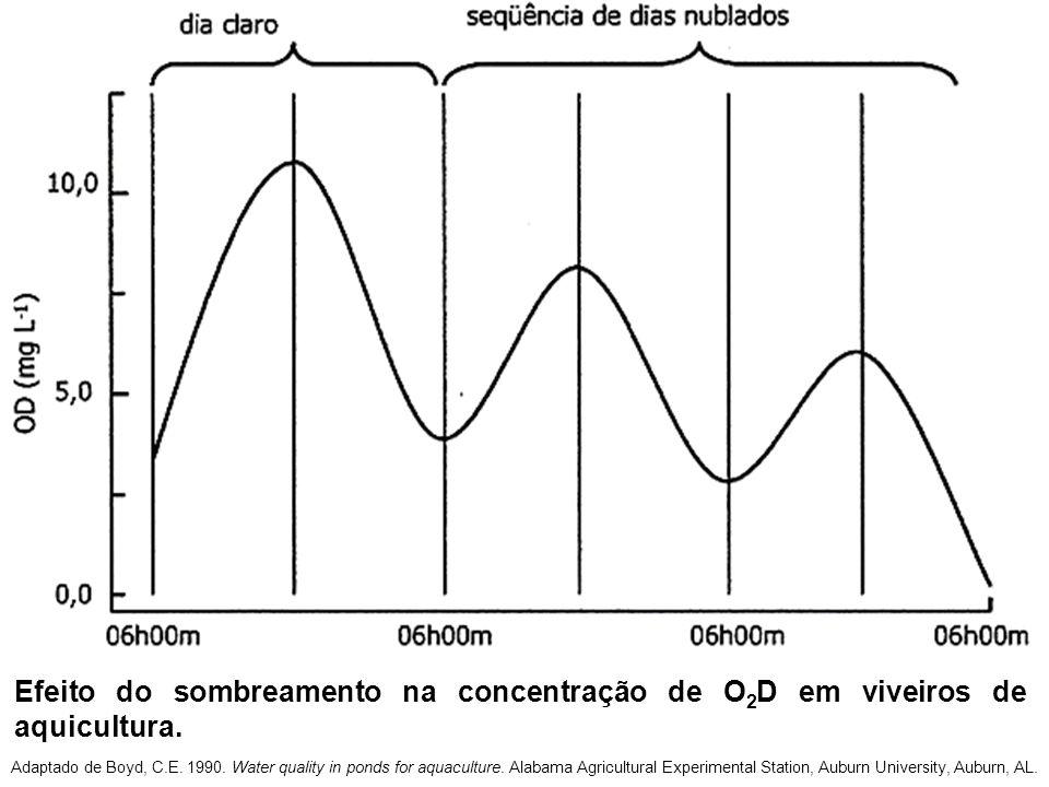 Efeito do sombreamento na concentração de O2D em viveiros de aquicultura.