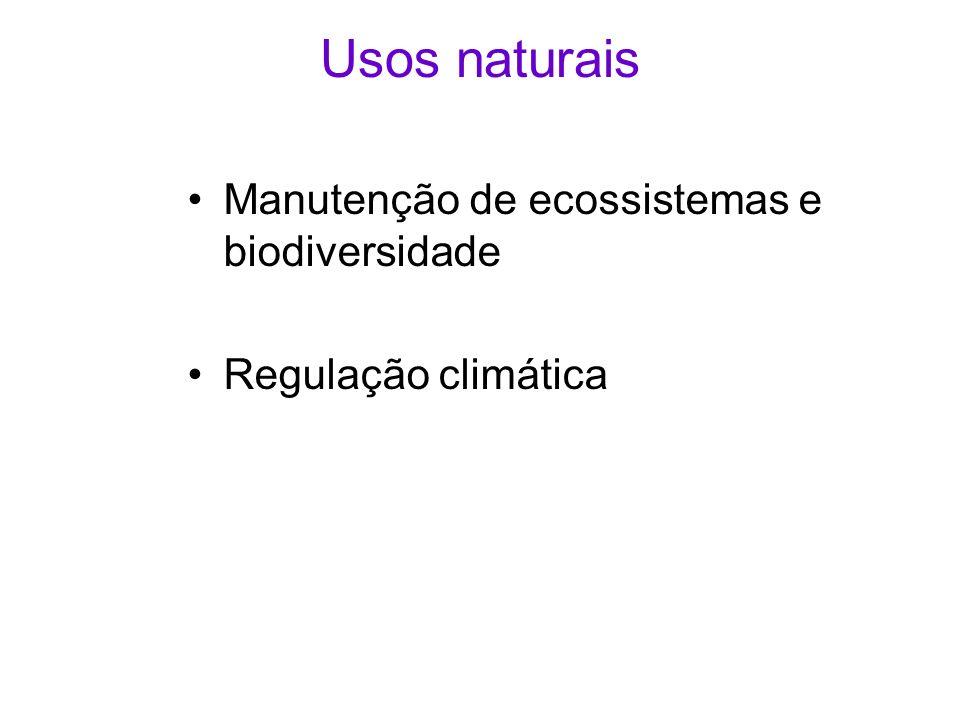Usos naturais Manutenção de ecossistemas e biodiversidade