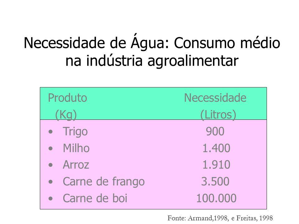 Necessidade de Água: Consumo médio na indústria agroalimentar