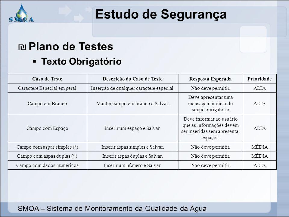 Descrição do Caso de Teste