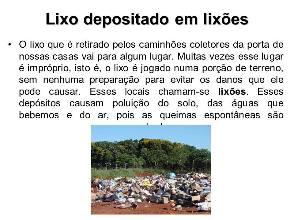 Lixo depositado em lixões