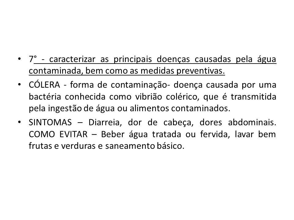 7° - caracterizar as principais doenças causadas pela água contaminada, bem como as medidas preventivas.