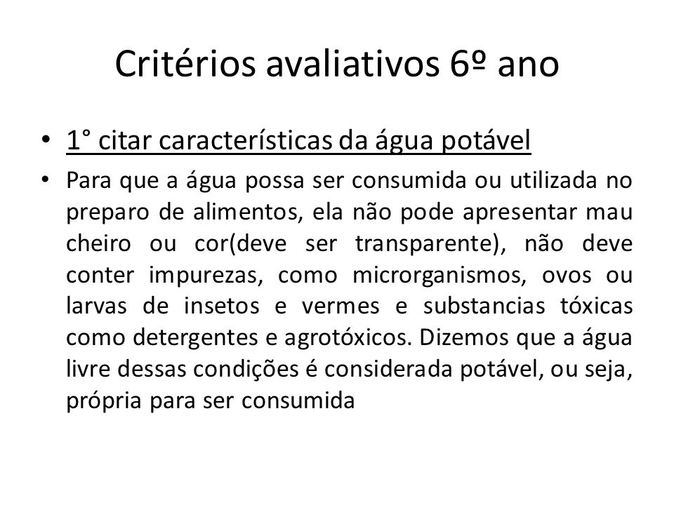 Critérios avaliativos 6º ano