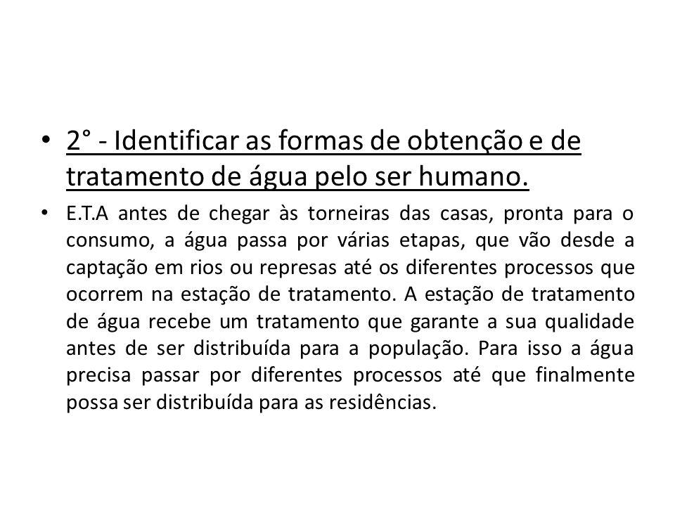 2° - Identificar as formas de obtenção e de tratamento de água pelo ser humano.