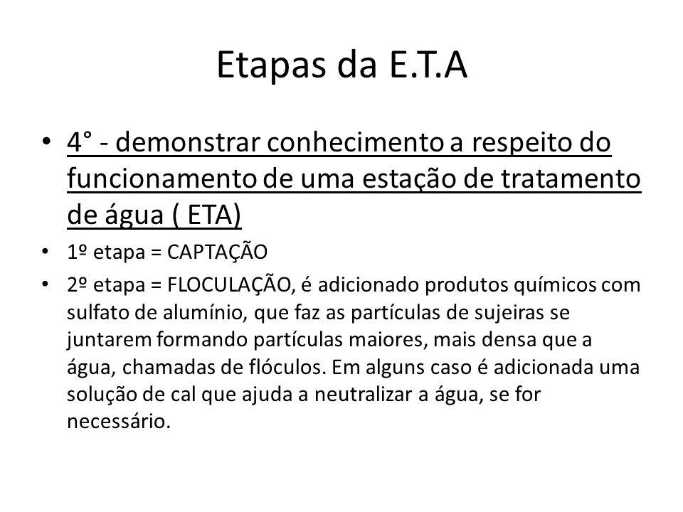 Etapas da E.T.A 4° - demonstrar conhecimento a respeito do funcionamento de uma estação de tratamento de água ( ETA)