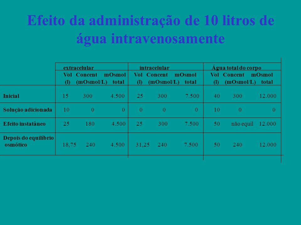 Efeito da administração de 10 litros de água intravenosamente