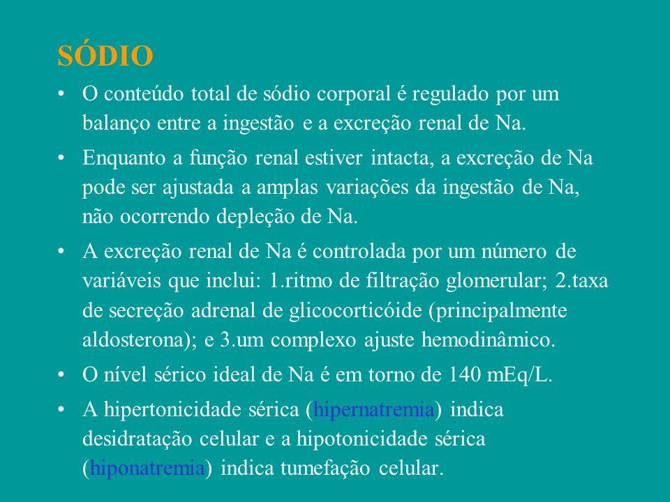 SÓDIO O conteúdo total de sódio corporal é regulado por um balanço entre a ingestão e a excreção renal de Na.