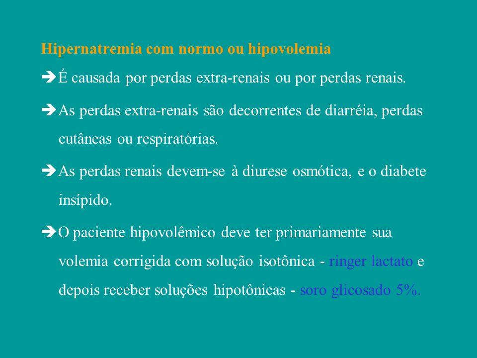 Hipernatremia com normo ou hipovolemia