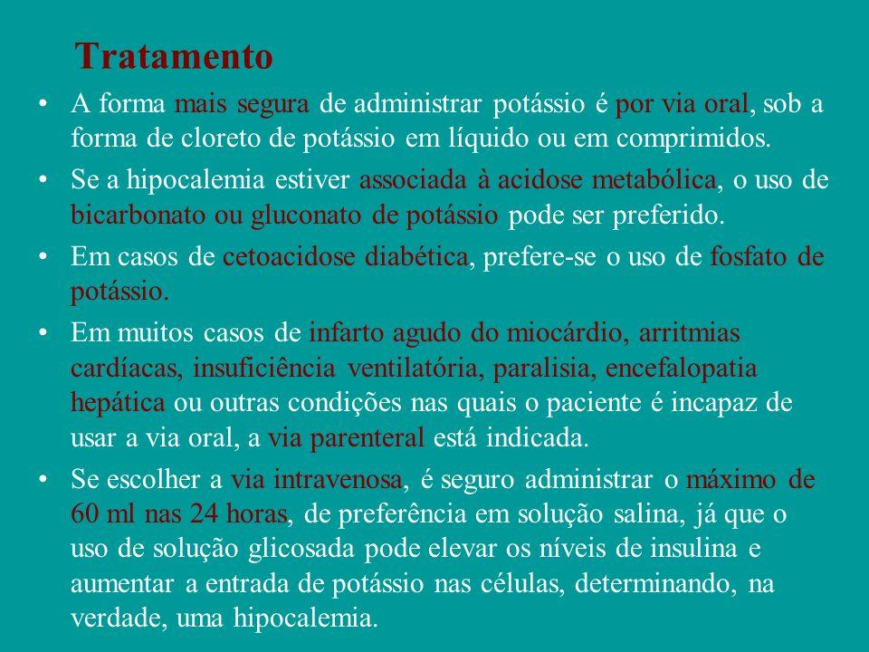 Tratamento A forma mais segura de administrar potássio é por via oral, sob a forma de cloreto de potássio em líquido ou em comprimidos.