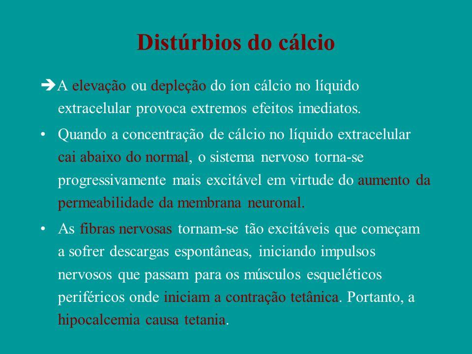 Distúrbios do cálcio A elevação ou depleção do íon cálcio no líquido extracelular provoca extremos efeitos imediatos.