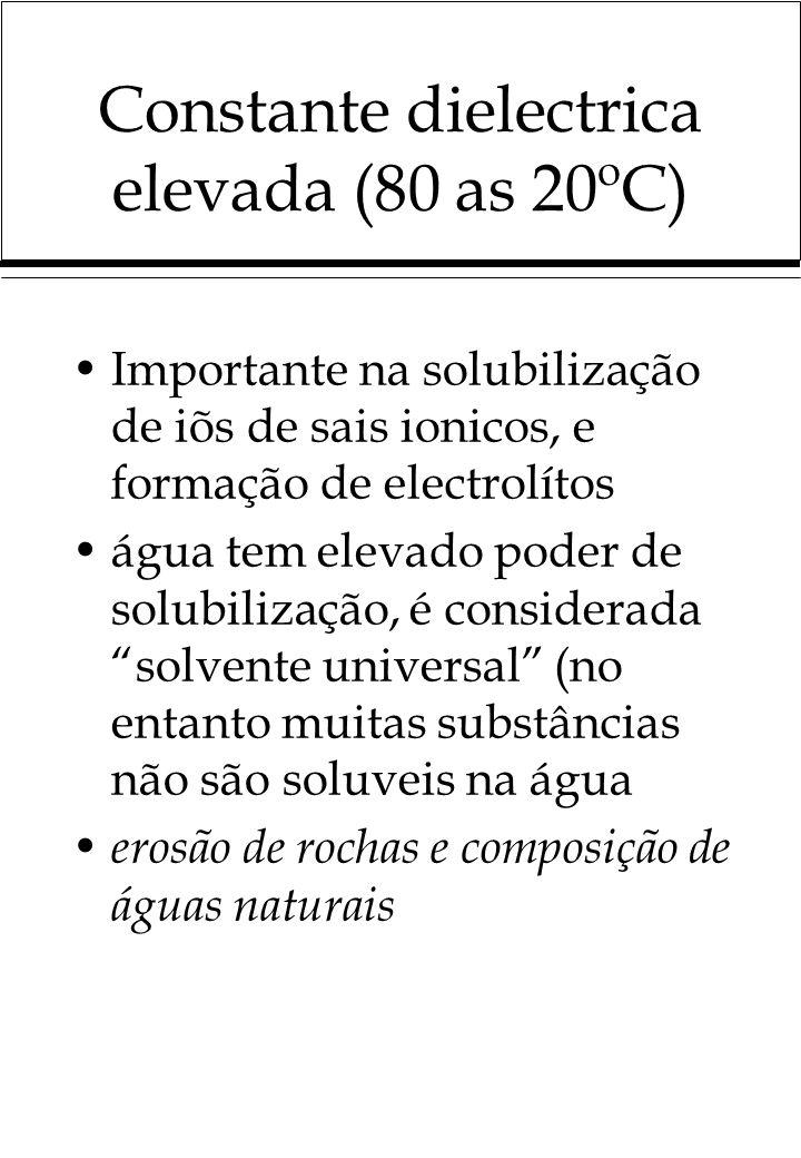 Constante dielectrica elevada (80 as 20ºC)