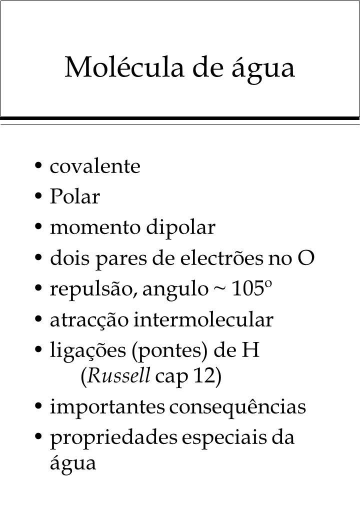 Molécula de água covalente Polar momento dipolar