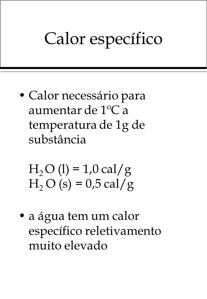 Calor específico Calor necessário para aumentar de 1ºC a temperatura de 1g de substância H2 O (l) = 1,0 cal/g H2 O (s) = 0,5 cal/g.