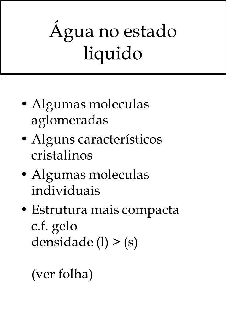 Água no estado liquido Algumas moleculas aglomeradas