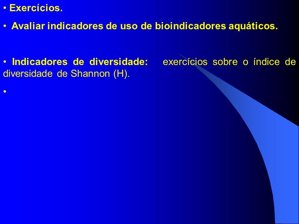 Exercícios. Avaliar indicadores de uso de bioindicadores aquáticos.