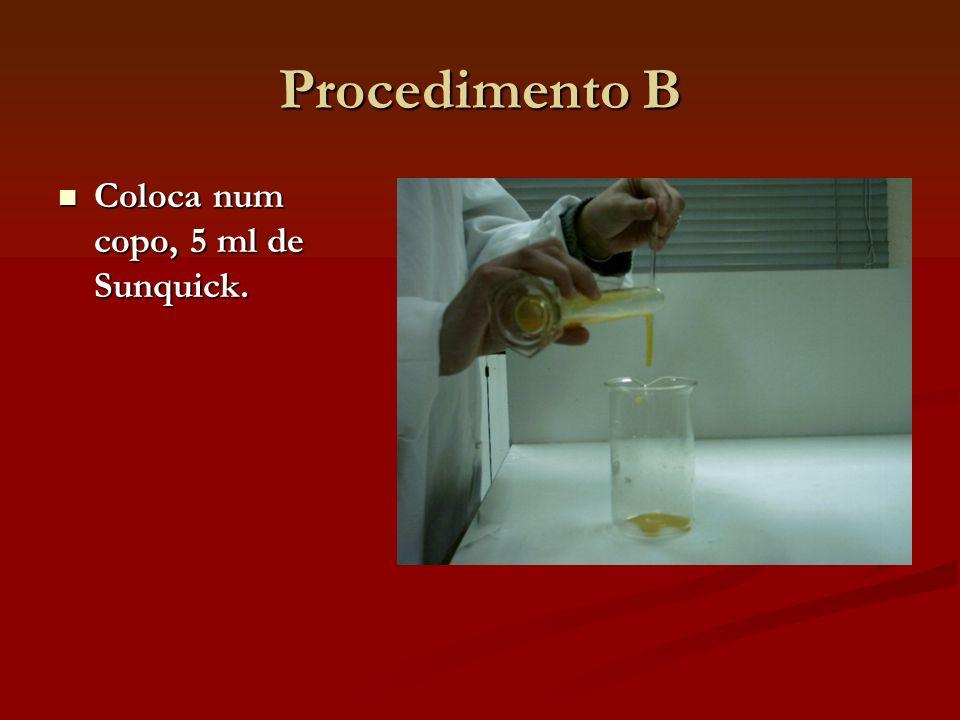Procedimento B Coloca num copo, 5 ml de Sunquick.