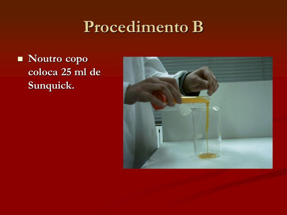 Procedimento B Noutro copo coloca 25 ml de Sunquick.