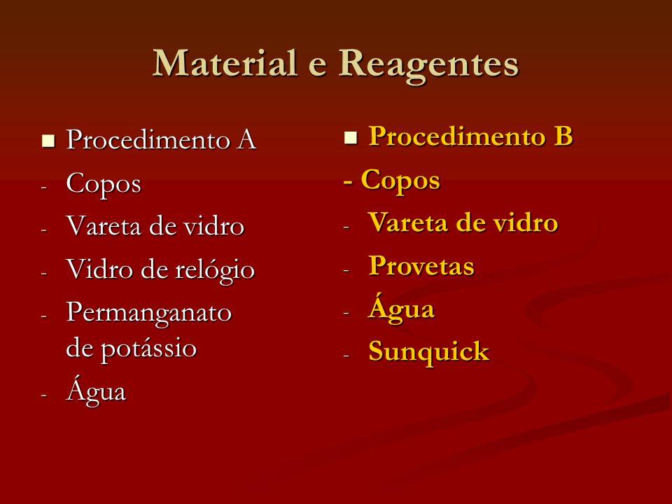 Material e Reagentes Procedimento B Procedimento A - Copos Copos