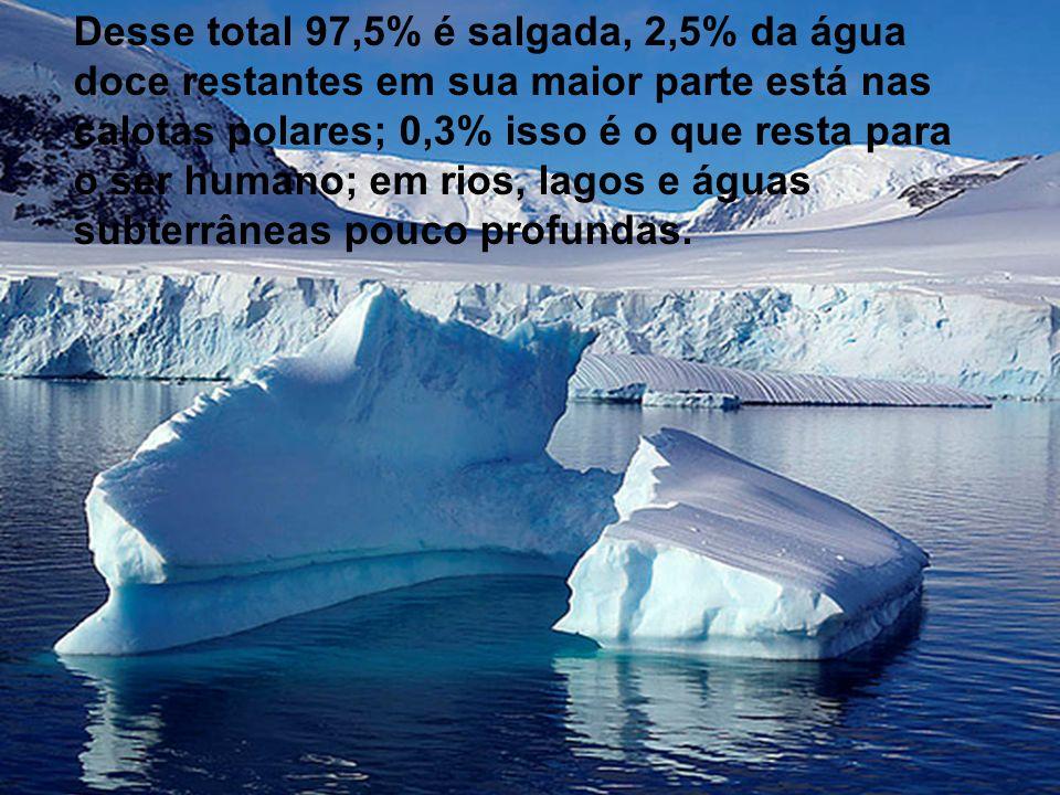 Desse total 97,5% é salgada, 2,5% da água doce restantes em sua maior parte está nas calotas polares; 0,3% isso é o que resta para o ser humano; em rios, lagos e águas subterrâneas pouco profundas.