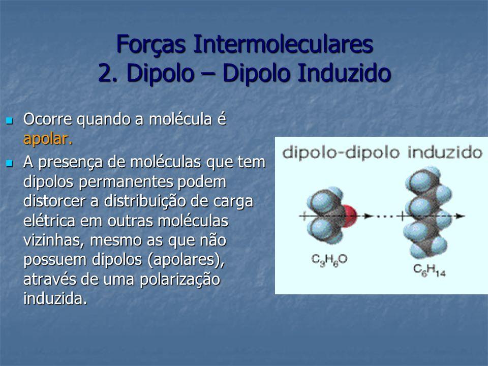 Forças Intermoleculares 2. Dipolo – Dipolo Induzido