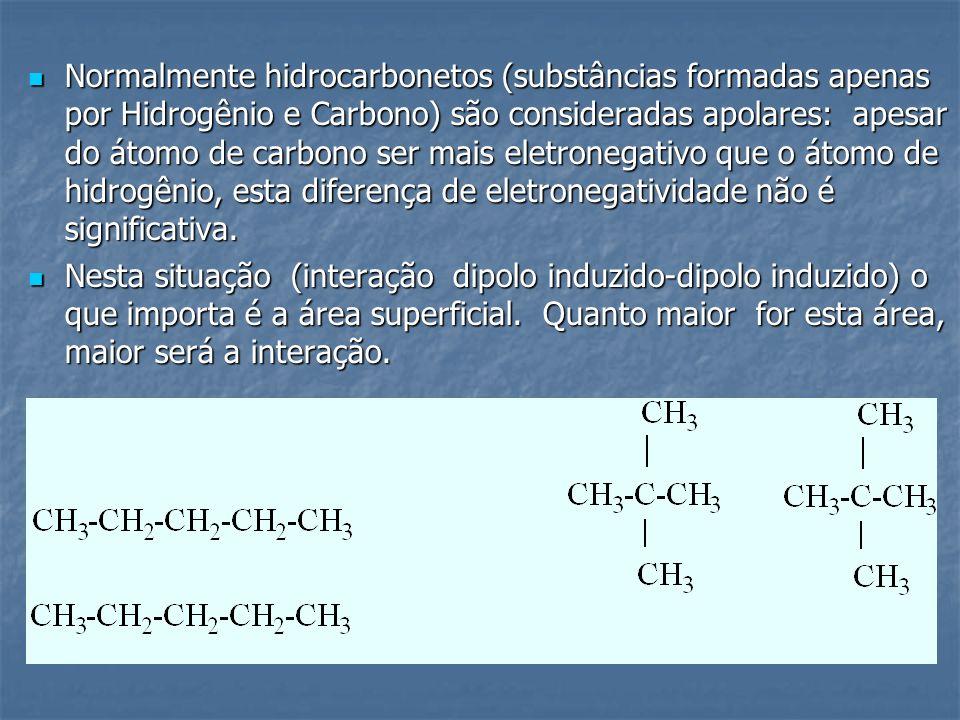 Normalmente hidrocarbonetos (substâncias formadas apenas por Hidrogênio e Carbono) são consideradas apolares: apesar do átomo de carbono ser mais eletronegativo que o átomo de hidrogênio, esta diferença de eletronegatividade não é significativa.