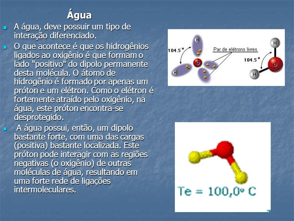 Água A água, deve possuir um tipo de interação diferenciado.