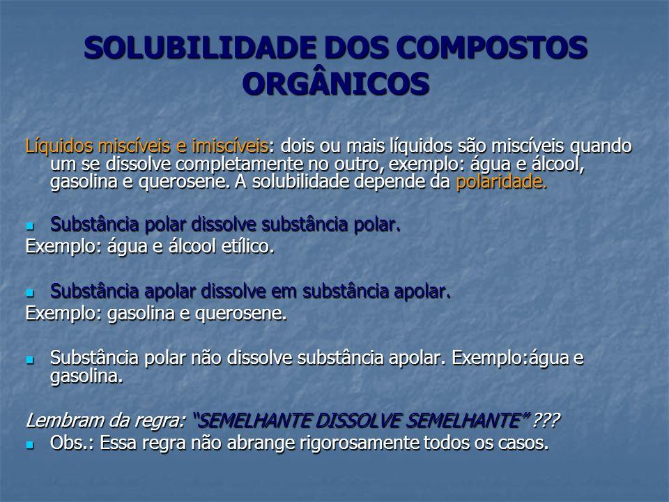 SOLUBILIDADE DOS COMPOSTOS ORGÂNICOS