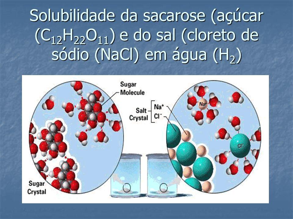 Solubilidade da sacarose (açúcar (C12H22O11) e do sal (cloreto de sódio (NaCl) em água (H2)